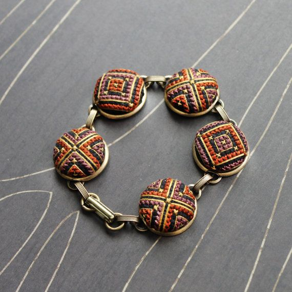 North Star cross stitch bracelet matte brass by TheWerkShoppe