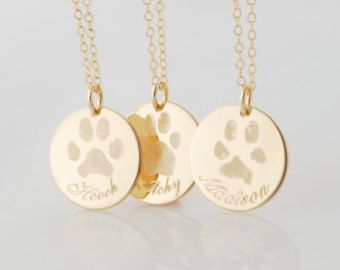 Solid 14k gold Your pet's actual paw print custom made tag