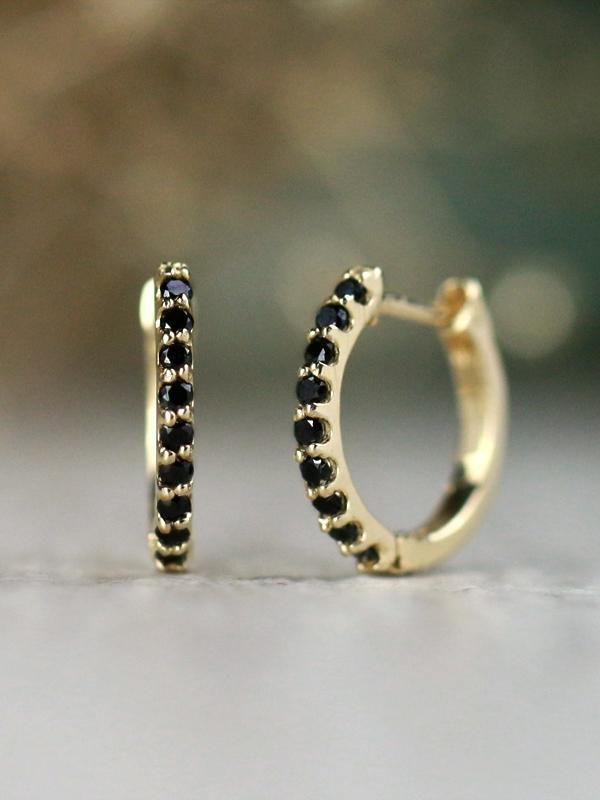 Petite Black Diamond Solid 14 Karat Gold Huggie Hoop Earrings