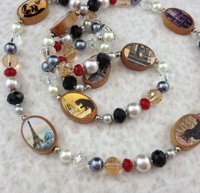 Paris Postcards Photobeads Necklace with crystals and glass pearls