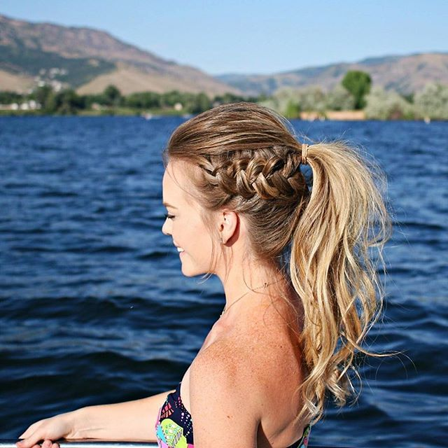 Dutch Braid Ponytail for another day at the lake! ☀️ Learn how to recreate this hairstyle by watching my tutorial on YouTube!  Link in my bio! Outfitdetails linked here: http://liketk.it/2rT8i #liketkit