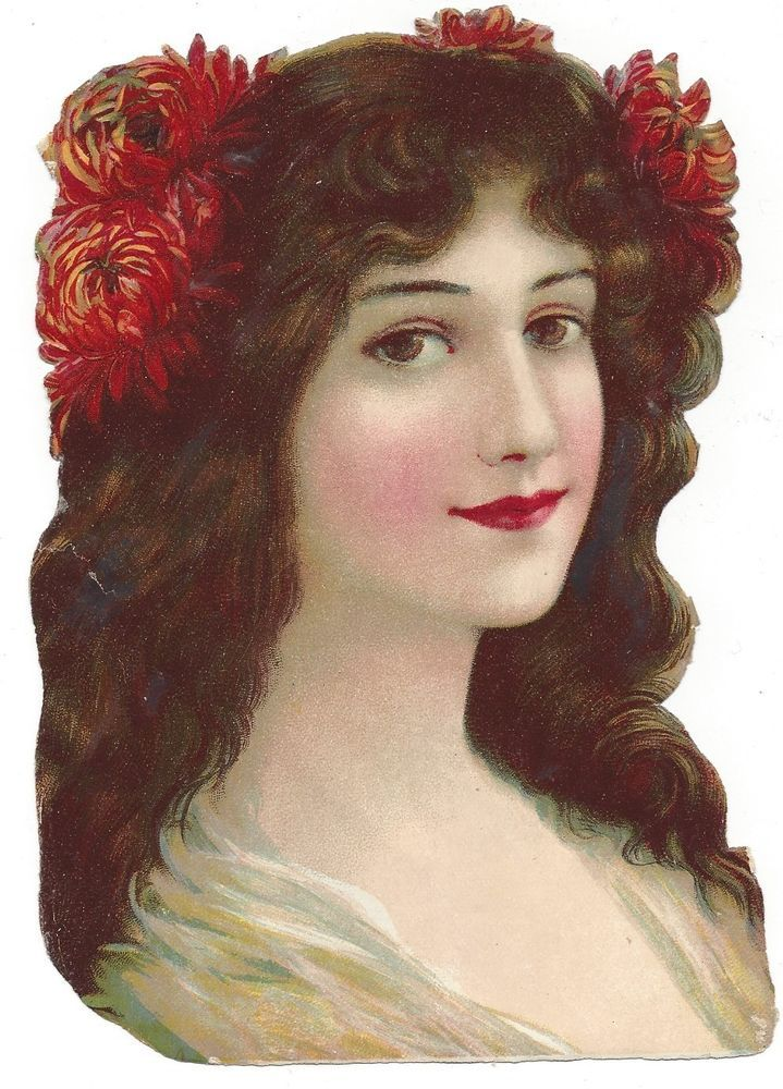 Victorian Die Cut Scrap Pretty Woman, Brown Eyes, Brown Hair with Chrysanthemums