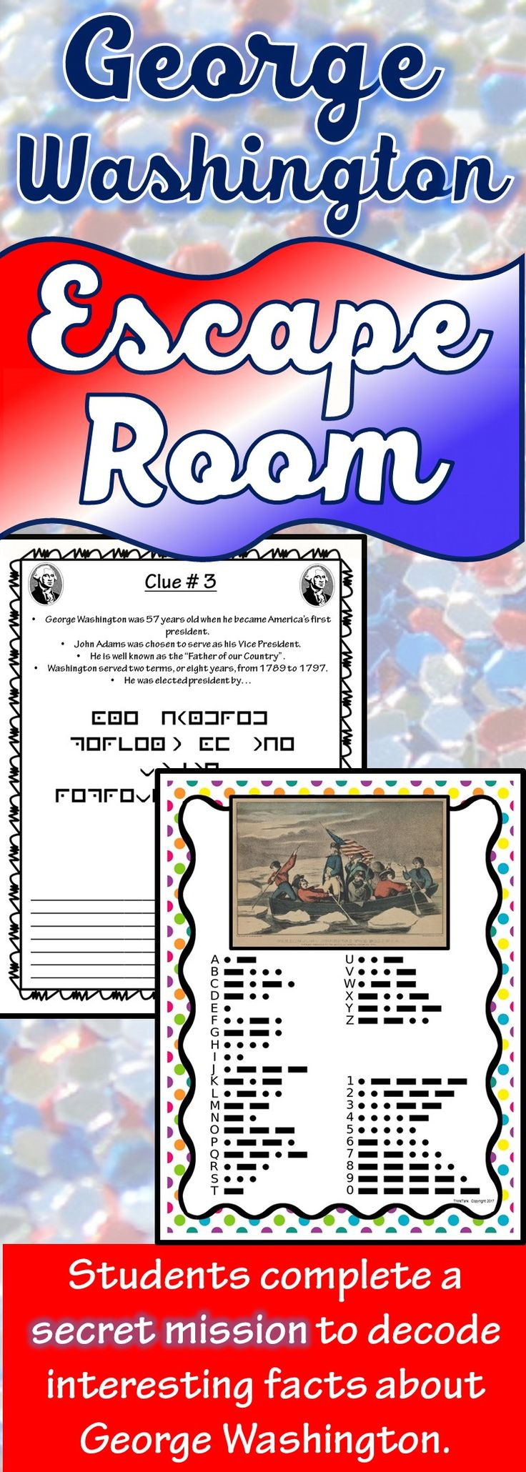 The George Washington Escape Room will take students on a secret mission around the classroom! This escape room has students decode interesting facts about George Washington. This is the perfect resource to introduce George Washington, to review his accomplishments or celebrate President's Day.