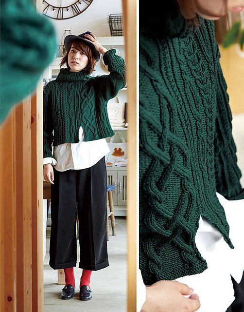 Free knitting pattern - Asymmetry Sweater pattern by Pierrot (Gosyo Co., Ltd)