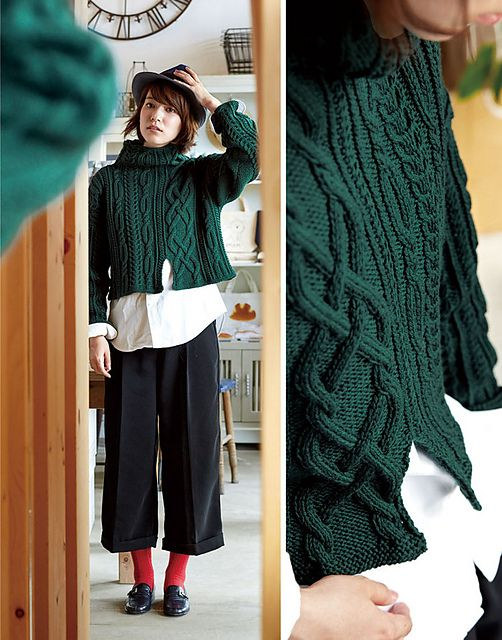 Free knitting pattern - Asymmetry Sweater pattern by Pierrot (Gosyo Co., Ltd)