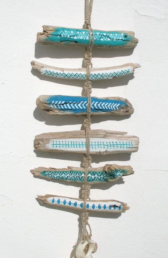 Painted Driftwood Tribal Patterned Wall Hanging by GeoJoyful