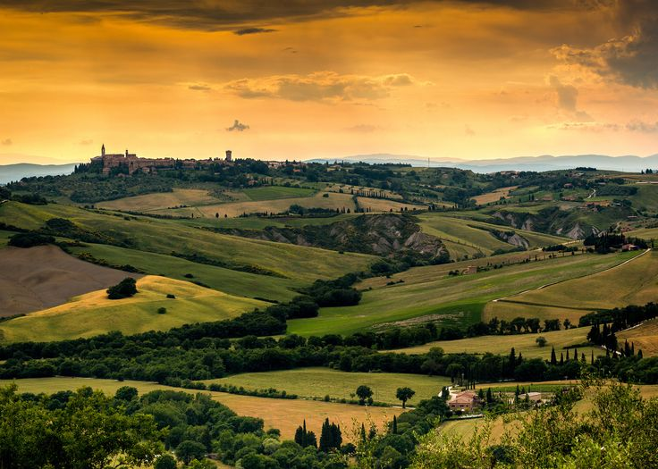 Pienza from Monticchiello - From the medieval small town of Monticchiello you can see Pienza (SI). Val d'Orcia Italy