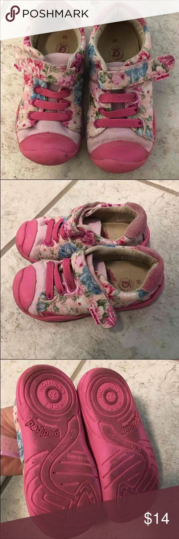 Pediped Girls Floral Sneakers 6 Good used condition. Some wear as pictured. Size 22 or US 6. pediped Shoes Sneakers