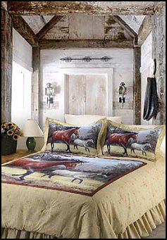 Girls Bedroom On Girls Horse And Pony Quilt Bedding Set