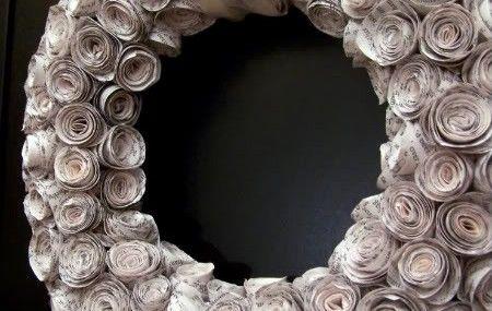Faux Recroquevillé Rosewood Wreath bricolage {Made De laminés recyclés Book Pages}