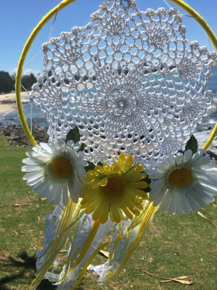 Dreamcatcher Hand Made - Yellow and White Flower Boho with Doily by DreamcatchersByIsale on Etsy