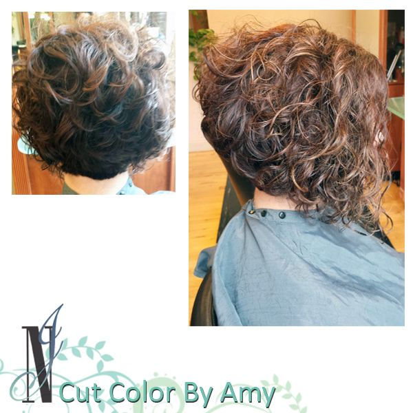Haircut By Amy, curly hair style, stacked bob