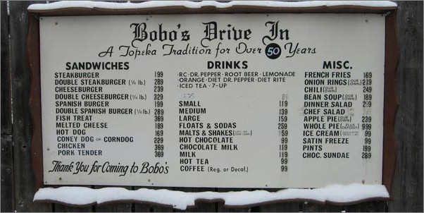 Bobos Drive In Menu