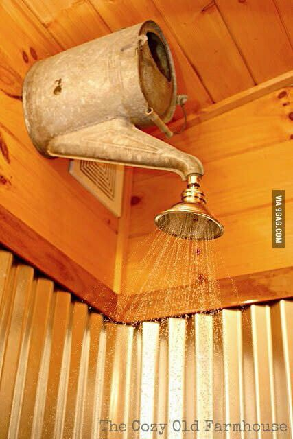 Watering can shower head - what a novel idea!