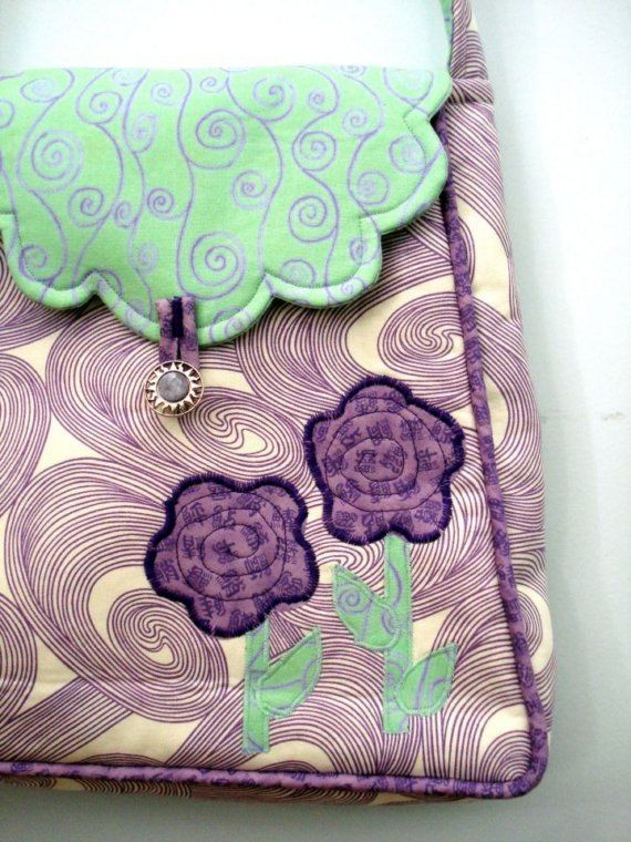 Floral Purse in Purple and Teal by uniquelynancy on Etsy, $35.00