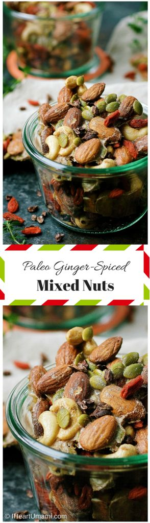 Paleo Ginger-Spiced Mixed Nuts ! Perfect Paleo homemade holiday gift. Also great for everyday Paleo, Whole30, and Keto snacks. Healthy and delicious !
