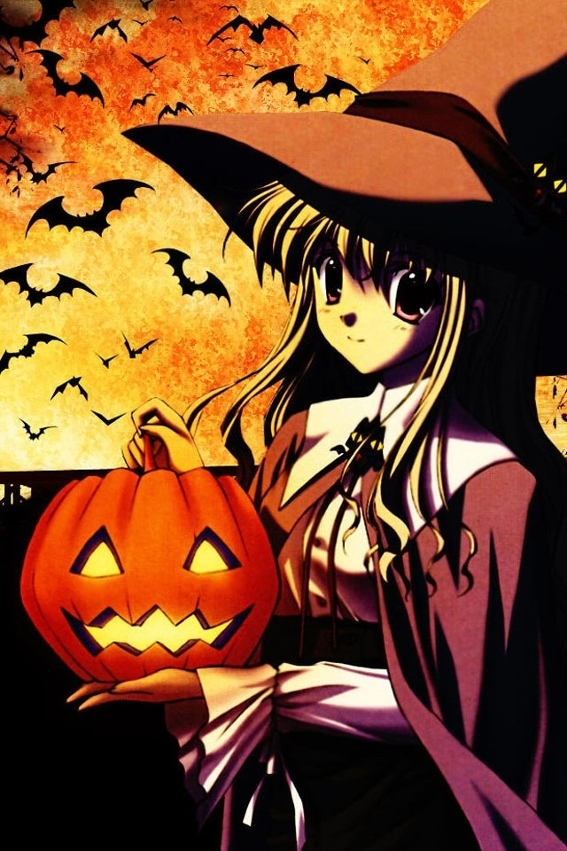 HAPPY HALLOWEEN~~★ anime art. . .witch girl. . .witch hat. . .pumpkin. . .jack o lantern. . .bats. . .cute. . .moe. . .kawaii