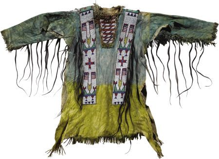 Sioux Warrior's Shirt depicting American flags. Circa 1890