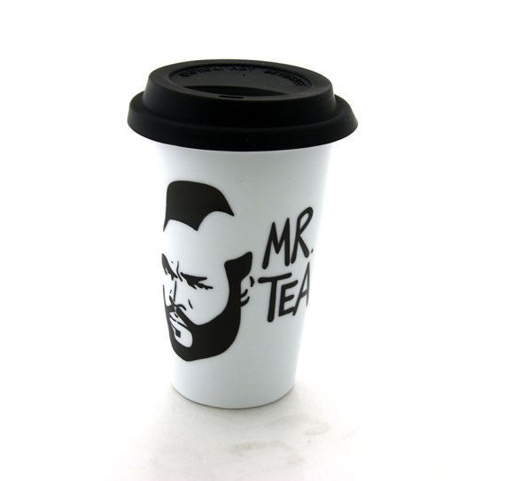 Mr T Tea Travel Mug Double Walled Porcelain Eco cup with Lid Kiln Fired on Etsy, $20.00