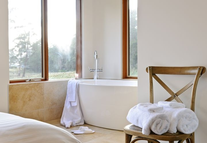 Relax in the free standing bath...
