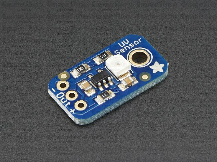 Analog UV Light Sensor Breakout - GUVA-S12SD Extend your light-sensing spectrum with this analog UV sensor module. It uses a UV photodiode, which can detect the 240-370nm range of light (which covers UVB and most of UVA spectrum).