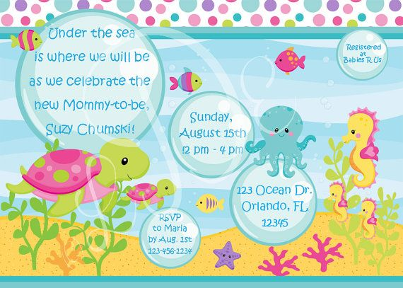 GIRLS Under the Sea Baby Shower Invitation by LittleDarlingExp, $12.00