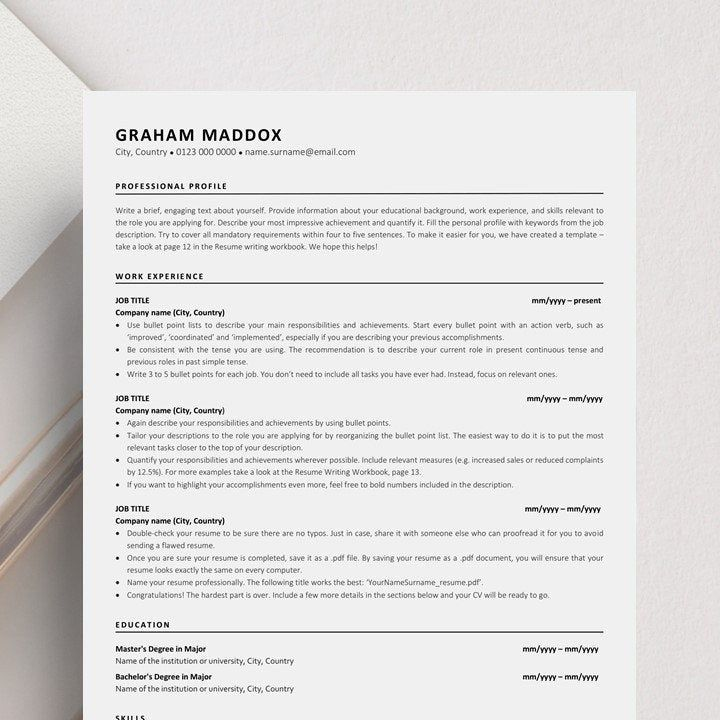 Ats resume template instant download functional cv classic