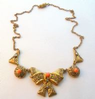 Vintage Marcasite And Faux Coral Bow Necklace.