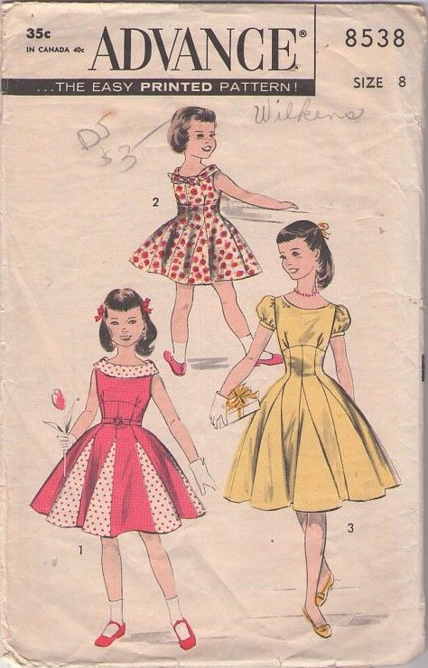 MOMSPatterns #Vintage Sewing Patterns - Advance 8538 Vintage 50's #Sewing #Pattern Pretty As A Princess Mother & Daughter GIRLS Empire Waist Foldover Collar, Inset Contrast Godets Full Skirt Dress Pattern Size 8