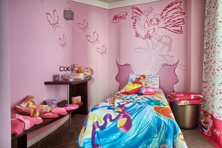 La #winx room, una stanza da favola dove tutto ricorda le fatine dei cartoni animati e dove ogni bimba troverà ad accoglierla un magico kit di benvenuto!