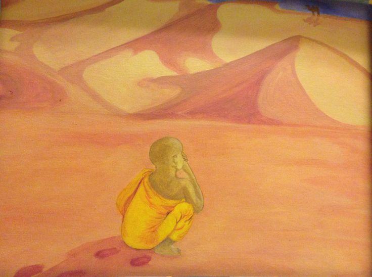 A boy in the desert