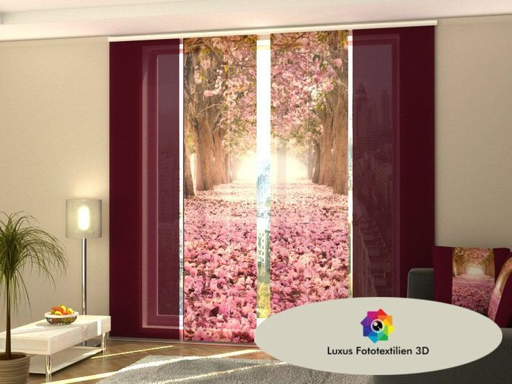 "Schiebegardine ""Magnolienallee"" Schiebevorhang 4-er Set in Luxus Fotodruck 3D auf Maß kaufen bei Hood.de"