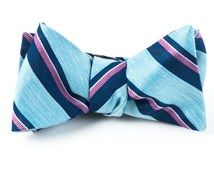 Bow Ties - SOCIAL STRIPE - WASHED POOL BLUE