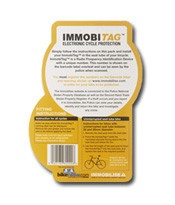 ImmobiTag is a radio frequency identification device (RFID) designed specifically to be embedded into a bike's frame.