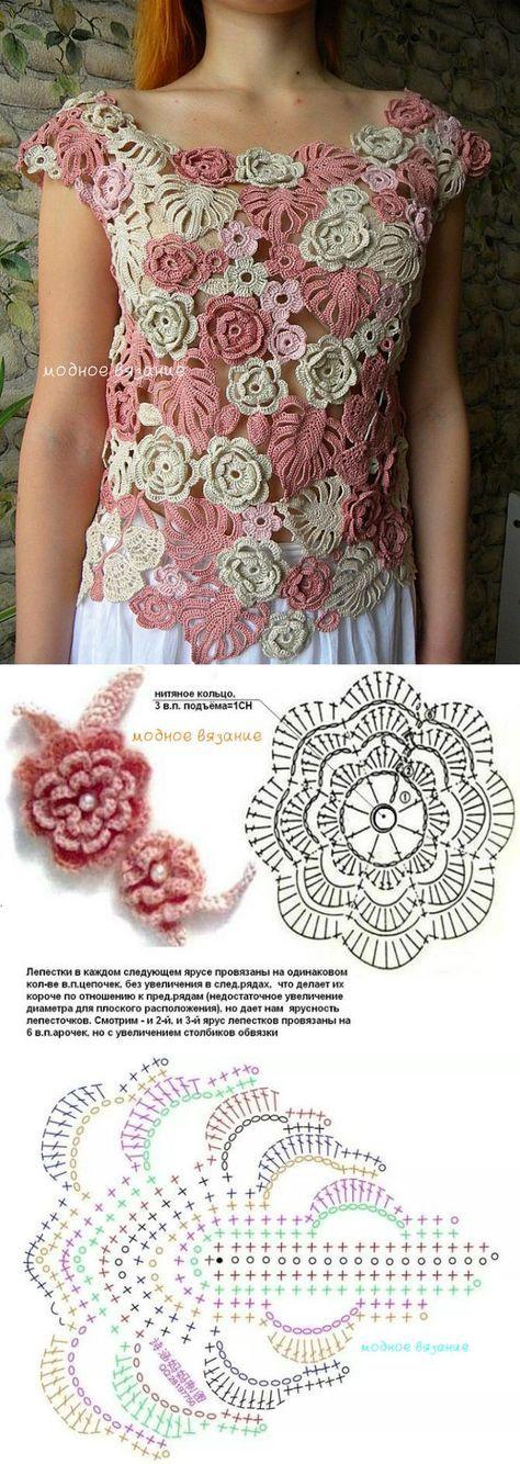 Кофточка *Кремовые розы* - Модное вязание [] # # #Irish #Crochet, # #Crochet #Flowers, # #Posts, # #Crochet #Patterns, # #Photography, # #Knitting, # #Blusas #Tejidas, # #Leaf, # #Tissue