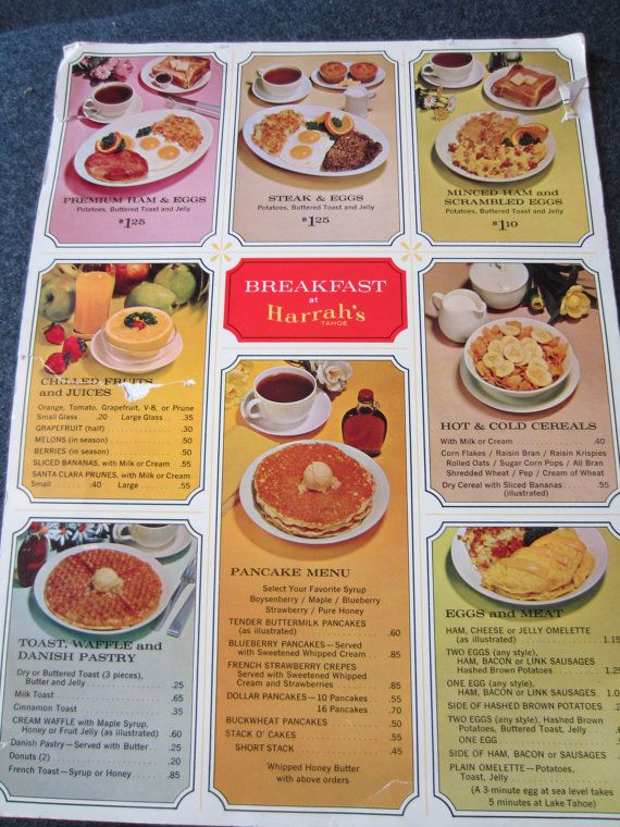 Vintage 1960s Restaurant Menu HARRAHS TAHOE by kookykitsch, $12.00