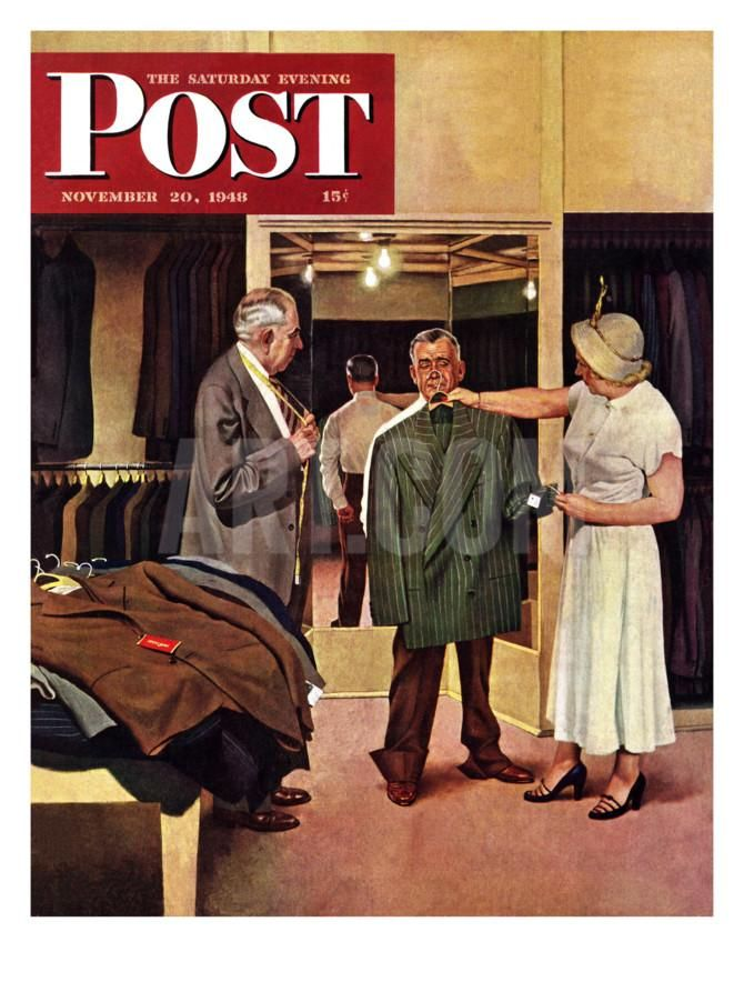 """""""Choosing a New Suit,"""" Saturday Evening Post Cover, November 20, 1948 Giclee Print by John Falter at Art.com"""