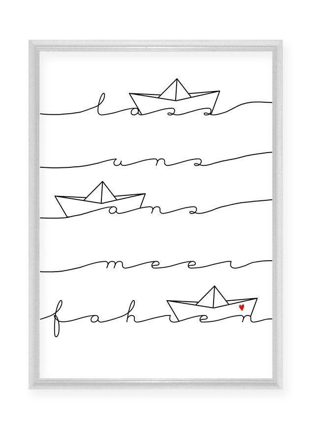 "Illustrierter Druck mit Spruch ""Lass uns ans Meer fahren"" / maritime print with handlettering made by Haus nr.26 via DaWanda.com"
