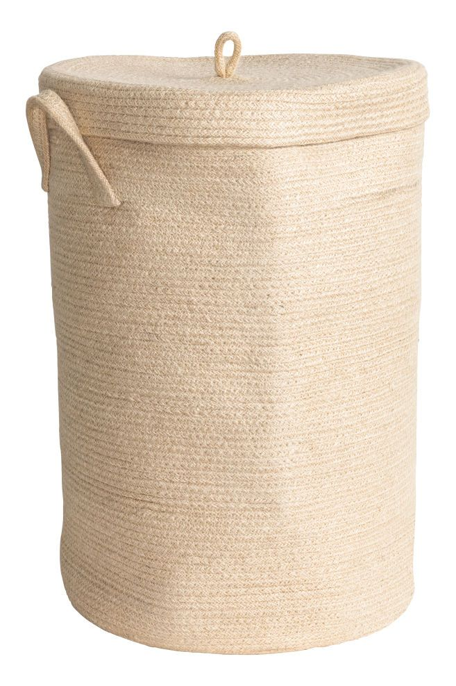 Jute laundry basket with lid - Natural white - Home All | H&M GB 2