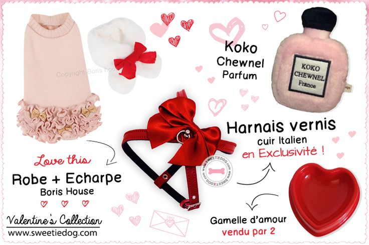 Saint Valentin chien Sweetie Dog - Robe & Echarpe Holiday Boris House - Harnais Vernis Rouge - Jouet Koko Chewnel Parfum - Gamelles Coeur Rouge www.sweetiedog.com #dogaccessories #harness #dogclothes #borishouse #leash #valentines #valentinesday #plush #dogtoy #borishouse