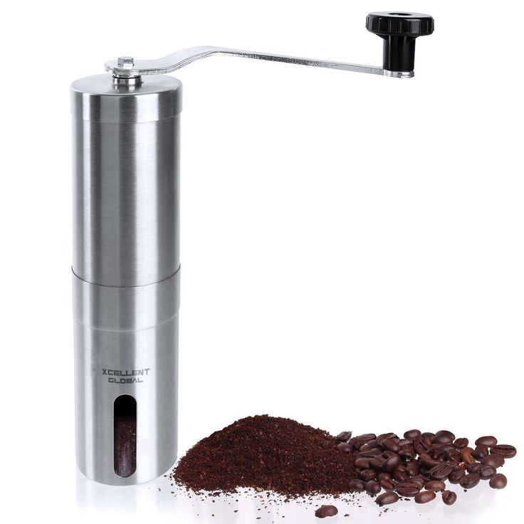 Xcellent Global Stainless Steel Manual Coffee Grinder Adjustable Ceramic Burr Grinder with Hand Crank M-HG100 ** Click on the image for additional details.