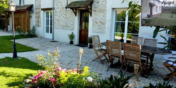 Terrasse en pavé de grès  neuf en Yvelines