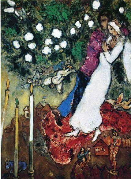 The Three Candles by Marc Chagall   1887 - 1985 (French, Jewish, Belarusian)  Date: 1938 - 1940; Paris, France  Naïve Art (Primitivism)  Dimensions: 96.5 x 127.5 cm  Location: Private Collection ( New York)