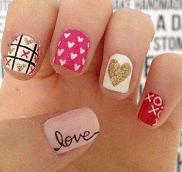 21 Valentines Day Nail Art Ideas | See more nail designs at http://www.nailsss.com/nail-styles-2014/