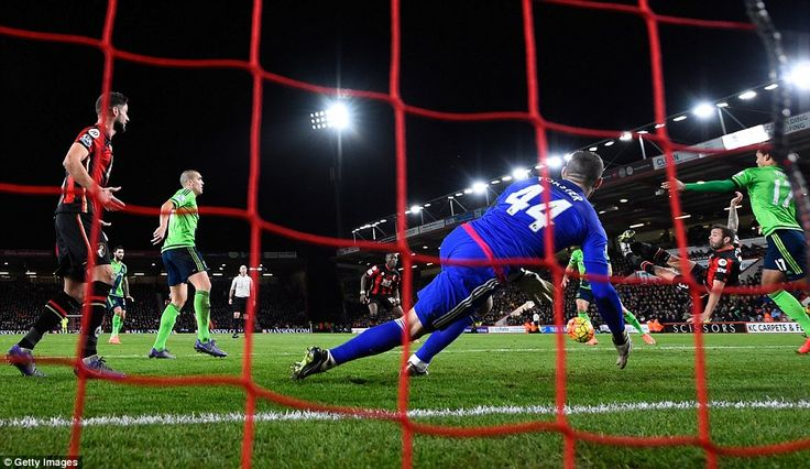 Bournemouth 2-0 Southampton: Steve Cook scores the first goal with a scissor kick past Fraser Forster