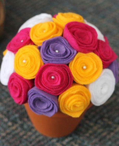 Family   Love   Home: Felt Flower Centerpiece