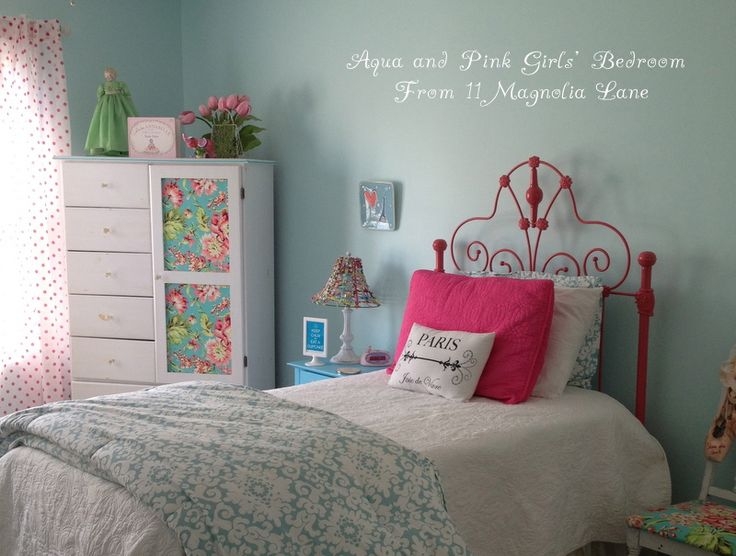 My Daughteru0027s Room  Updated {Yes, Again!} In Aqua Blue, Brown, And Pink.  Green Girls BedroomsLittle ...