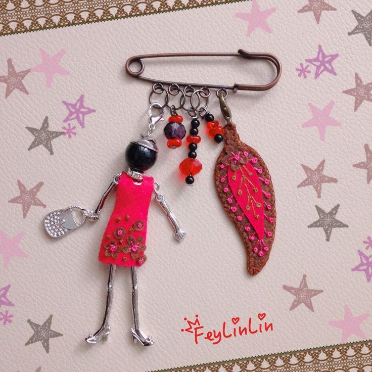 Felt dress for french doll necklace ||| Фетровое платье для французкой куклы.   #FeyLinLin #brooch #брошь #вышивка #felt #french_doll_necklace #frenchdollnecklace #feltembroidery #handmade #design #beads #jewellery #embroidery #pin