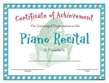 Piano Recital Certificate in a Casual Style   Recital