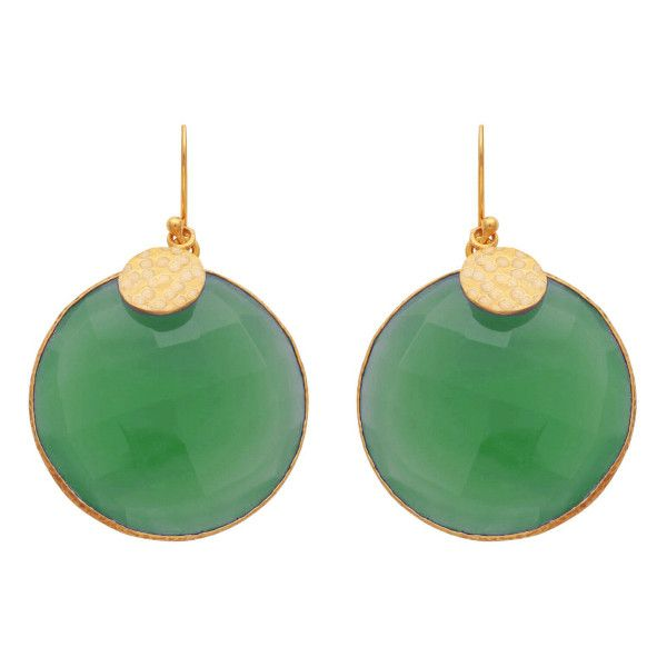 Green Onyx Disc Earrings ($120) ❤ liked on Polyvore featuring jewelry, earrings, green onyx jewelry, golden jewelry, disc earrings, disc jewelry and golden earring